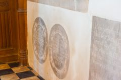 17th century memorial slabs in the sanctuary
