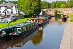 Narrowboats on the Pontcysyllte aquaduct