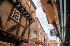 Medieval houses overhanging the street