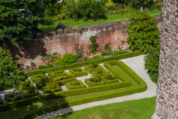 The Tudor garden from atop the castle's gatehouse tower