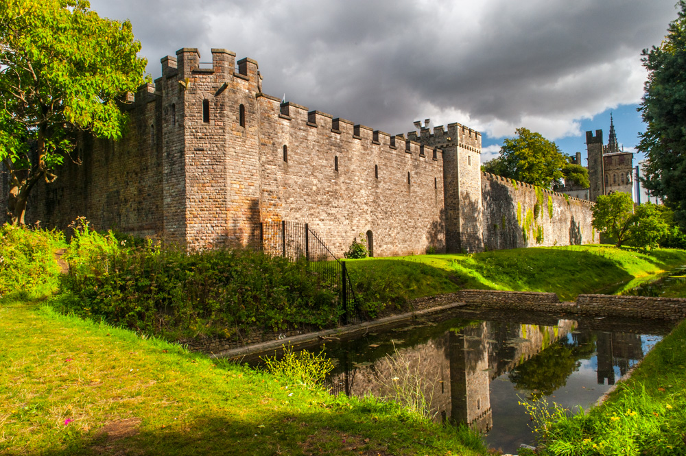 Cardiff Castle and moat from the nearby park