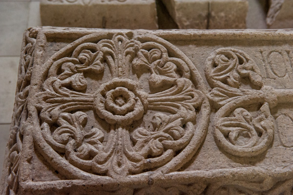 Intricate carvings on the tomb of Maurice de Londres (Maurice of London)