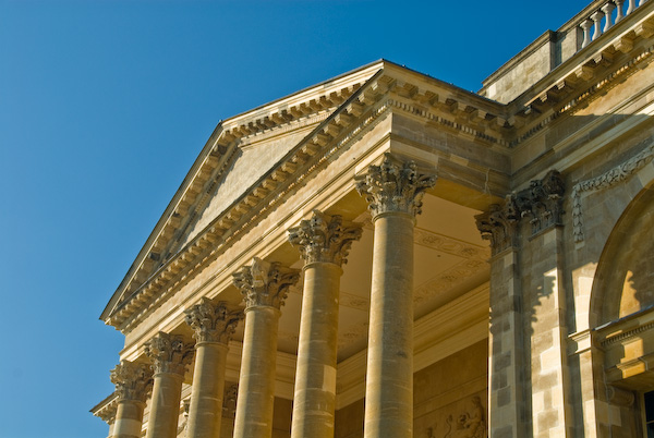 Stowe House, classical entrance portico