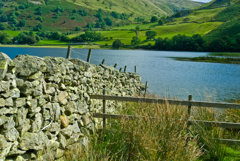 Brothers Water, stone wall and fence