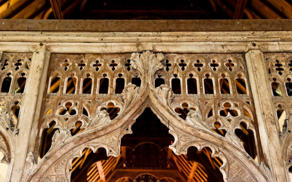 Medieval carved screen, Barton Church