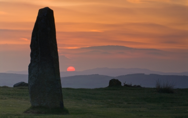 Mitchell's Fold Stone Circle at Sunset
